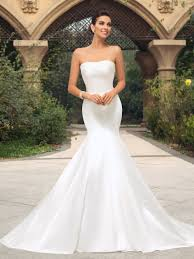 trumpet wedding dresses strapless trumpet pearl court wedding dress tbdress