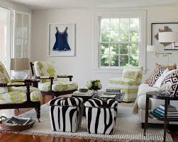 furniture cottage living room with zebra print bench seat near