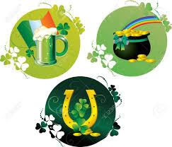 Pot Flag Round Patrick Cards With Beer Pot Horseshoe Rainbow And Irish