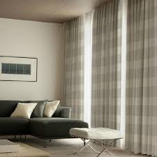 Plaid Drapes Custom Burlap Gray Color Plaid Curtains For Bedroom