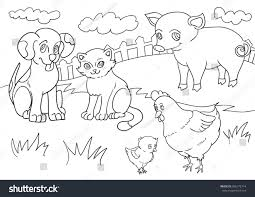 farm animal coloring book vector illustration set farm animals line stock vector 396172714