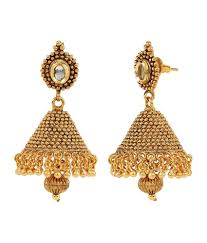 jhumka earrings online shinningdiva 18kt gold plated kundan jhumka earrings buy