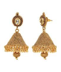 jhumka earrings online shinningdiva 18kt gold plated kundan jhumka earrings buy