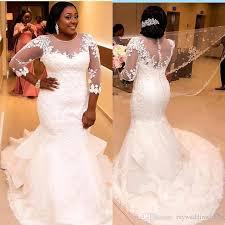 cheap plus size wedding dresses sheer sleeves plus size mermaid wedding dresses 2017 cheap