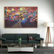 Psychedelic Room Decor 50 33cm Psychedelic Trippy Tree Abstract Art Silk Cloth Poster