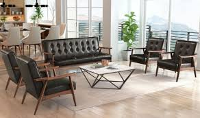 Rocky Modern Living Room Set In Black By Zuo GetFurniture Fiona - Black living room set