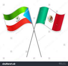 Equatorial Guinea Flag Equatorial Guinean Mexican Crossed Flags Equatorial Stock Vector