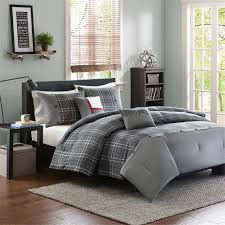 Masculine Bedding Grey Black White Plaid Teen Boy Bedding Twin Full Queen King