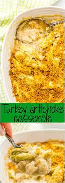turkey artichoke casserole family food on the table