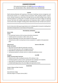 sample resume for cashier position templates cashier duties and