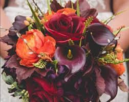 wedding flowers autumn fall wedding bouquet etsy