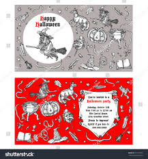 medieval engraving style halloween invitation ink stock vector