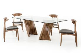 glass dining room table and chairs corbin mid century walnut u0026 glass dining table