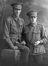 From photographs displayed at Mapping Our Anzacs, 2393 Pte William Joseph Sheahan is the one seated and 2307 Pte Oliver Matthew James Goldsmith is the one ... - SHEAHAN-William-Joseph