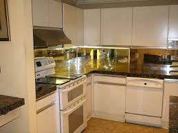 mirror backsplash kitchen l shape kitchen design and decoration using light glass mirrored