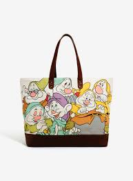 loungefly disney snow white dwarfs canvas tote