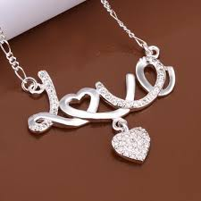 love heart chain necklace images Fashion women crystal letter love hearts pendant necklace silver jpg