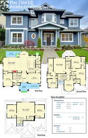 Double Storey House Floor Plans Plain 3 Story House Floor Plans Rear Elevation View For Townhouse