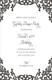 Invitation Card For Dinner Black Floral Pattern On White Card For Brunch Dinner And Dessert