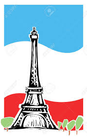 Paris Flag Image Eiffel Tower In Paris France With Spring Trees And French Flag