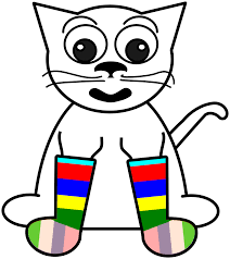 cartoon cat in rainbow socks black white line art tattoo google