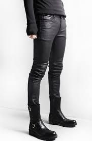 korean style black skinny jeans men coated denim pants washed long