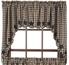 Primitive Swag Curtains Black Scalloped Lined Swag Curtains Primitive Quilt Shop