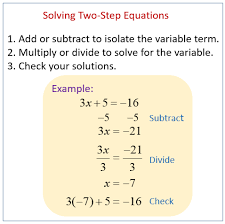 solving two step equations solutions examples videos