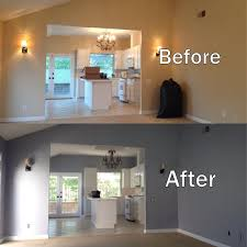 before and after photo of the interior painting job pilot did at