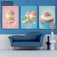 Home Decoration Painting by Aliexpress Com Buy Oil Painting Canvas Sweets Cake Wall Art