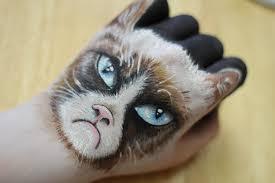 Sad Cat Meme - hand art grumpy cat