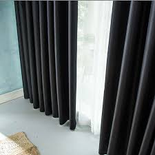 thick black insulation full blackout curtains shade cloth finished