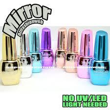 santee 8 pcs color mirror effect metallic no uv led nail polish