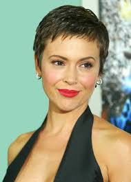 short haircuts edgy razor cut pretty pixie cut with edgy piecey fringe alyssa milano short