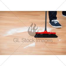 Hardwood Floor Broom Broom Cleaning Dirt On Hardwood Floor Gl Stock Images