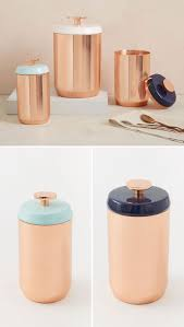 keep your food and decor fresh with these 13 modern jars and with the ability to jazz up any kitchen these modern copper canisters have different colored enamel lids with easy to use knobs