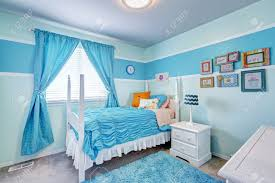 Girls White Bed by Happy Girls Room Interior In Light Blue Tones White Bed With