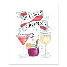 martini glass cheers lily u0026 val u2013 holiday cheers print christmas illustrated art