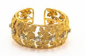 white gold leaf bracelet images 18k buccellati diamond cuff bracelet maple leaf motif yellow white jpg