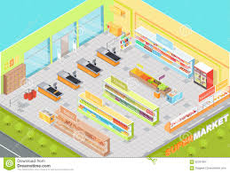 Supermarket Floor Plan by Supermarket Departments Interior 3d Isometric Shop Stock Photo