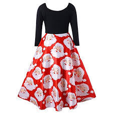 GOVOW Christmas Dress for Women 2018 VNeck Ribbons Merry Christmas