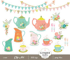 tea party clipart shabby chic pencil and in color tea party