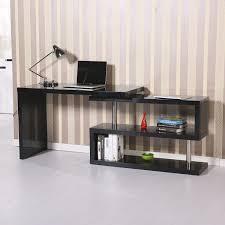 aosom homcom rotating office desk and shelf combo u2013 black home