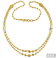 22k two tone gold balls chain ajch57795 22k gold chain 17 inch