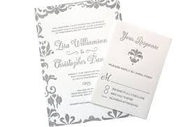 Damask Wedding Invitations Gray Letterpress Damask Wedding Invitation U2013 Sofia Invitations Blog
