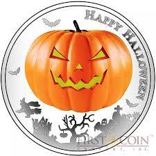 niue island halloween silver coin 2 jack o lantern 1oz glow in