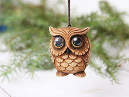 owl ornaments owl lover gift carved owl ornament christmas tree owl gift