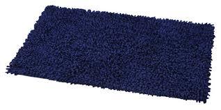 Kilim Bath Mat Shaggy Loop Bath Rug Navy Blue Contemporary Bath Mats By Evideco