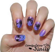 palm trees nail wraps nail stickers hand painted nail art
