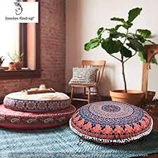 Ottoman Pillow Elephant Mandala Floor Pillow Indian Square Ottoman